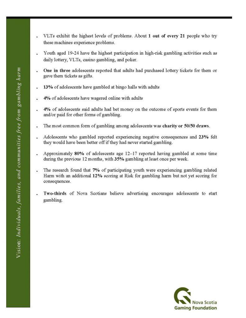 Nova Scotia Gambling Statistics Sheet 2